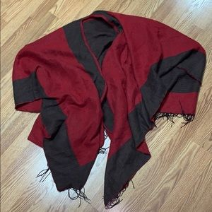Scarf Fringe WrapRed Brown Colorblock